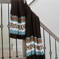 Brown and Blue Blanket - Crochet Shell Pattern Afghan - Twin Size Throw - Boys Blanket
