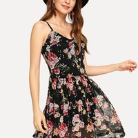 Flower Print Fit & Flare Cami Dress