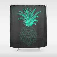 pineapple got the blues Shower Curtain by AmDuf