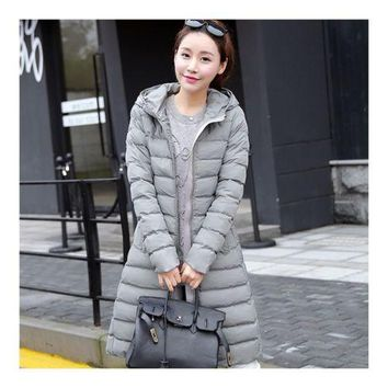 Winter Slim Woman Middle Long Hoodied Cotton Coat   grey   M