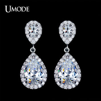 Wedding Crystal Earrings Bridal Jewelry Silver Cubic Zirconia Posts Large Teardrop Bridal Earrings Wedding Jewelry