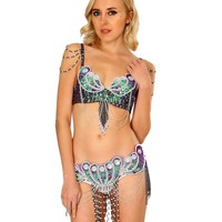 Purple Mermaid Carnival Inspired Rave Bra and Belt Outfit