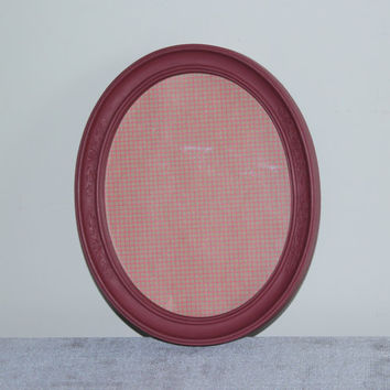Burgundy 8x10 oval picture frame - Painted frame, upcycled frame, red frame, red decor, Homco frame