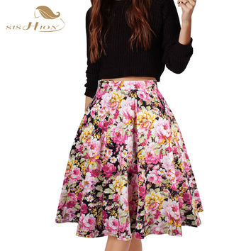 SISHION Skirts Womens Sexy American Apparel Midi Skirt Floral Dot Black Red Blue Plus Size Summer High Waist Skirt Tutu faldas