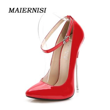MAIERNISI Brand Women 16cm Extreme High Plus Size Sexy Fetish High Heel Pumps Thin Heels Pumps Scarpin Valentine Luxury Shoes