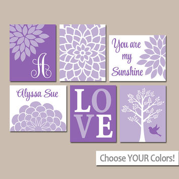 LILAC Lavender Nursery Wall Art, CANVAS or Prints, Baby Girl Nursery Artwork, Personalized Girl Pictures, Sunshine Set of 6 Crib Pictures