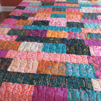 Batik Lap Quilt , Sofa Throw , Multi Color Throw Quilt