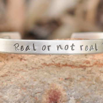 Hunger Games hand stamped cuff bracelet Real or by brandedheart