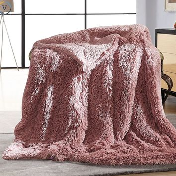 Throw blanket Fuzzy Faux Fur Super Soft Warm Elegant Cozy Fluffy Shaggy Chic