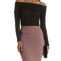 Black Ribbed Long Sleeve Off-the-Shoulder Top by Charlotte Russe