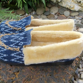Vegan Men's Slippers In Hmong Indigo Batik, Tribal Mocassin Style Plush Lined House Shoes - Riley