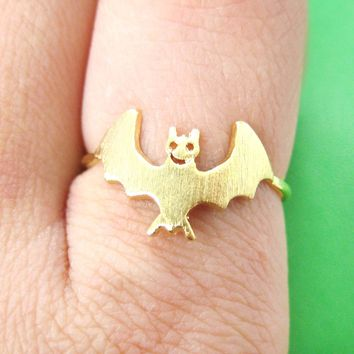 Adorable Bat Shaped Animal Themed Ring in Gold Size 6 | DOTOLY