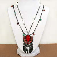 Aztec - Native - South Western - Boho - Feather Pendant Necklace - Layered