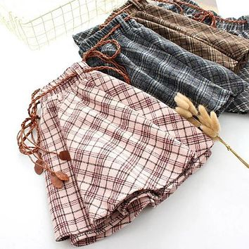 2017 Spring new Women Plaid Thin Woolen Short Skirt Elastic Waist with Sashes Young girls Preppy styles Korea Fashion Skirts