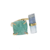Druzy and Aqua Double Stone Ring - Rings - New Arrivals - Ylang 23