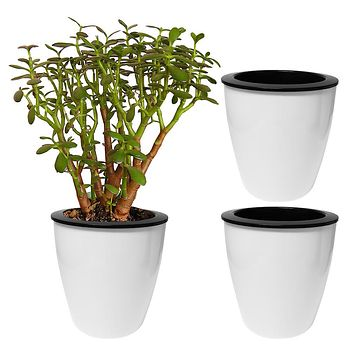 Evelots Self Watering Flower Garden Planters - 3 Pack White, Small or Large