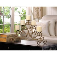 Cast Iron Antiqued Rustic 5 Candle Candelabra