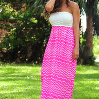 Dreamed To Life Maxi Dress: White/Pink