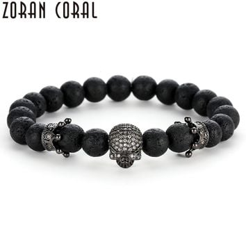 2018 High Quality Men Beads Bracelets Rose Gold and Silver Micro pave CZ Crown and Skeleton skull Bracelet Men European Jewelry