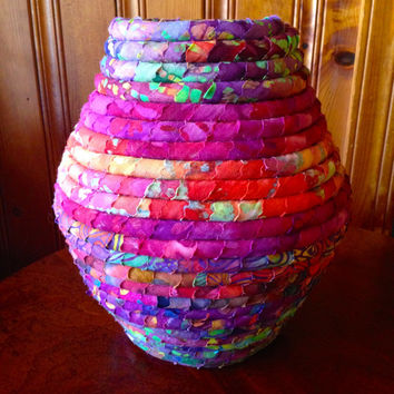 Tall Fabric Coiled Pot in Red & Purple Batiks with accent colors