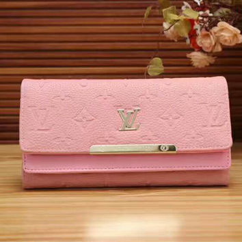 LV  Women Print Flower Leather Tote Handbag Wallet  Purse Bag Pink G-LLBPFSH