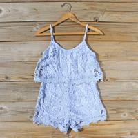 Palm Lace Romper in Sky