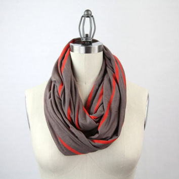 brown stripe infinity scarf, taupe and orange scarf, jersey scarf, chunky taupe jersey solid infinity scarf, american apparel inspired