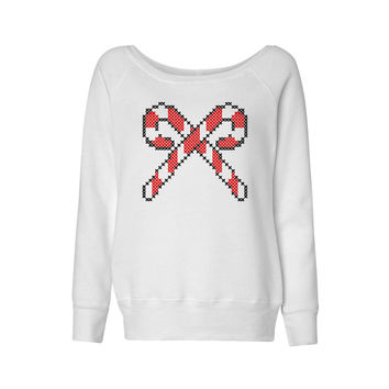 Cross Stitch Candy Cane Wideneck Sweatshirt