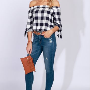 Off-The-Shoulder Plaid Print Top Navy