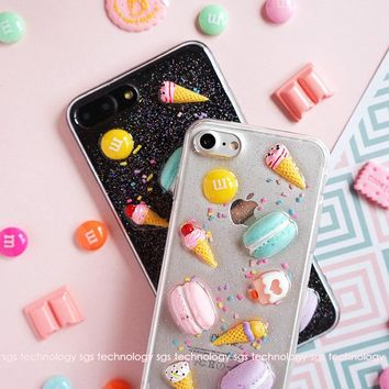 KISSCASE Summer 3D Ice Cream Cases For iphone 7 7 Plus 6 Case Cute Candy Donuts Transparent Silicon Cases For iphone 6s 7 Case