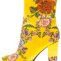 YELLOW COLORFUL BROCADE FLOWER HEEL ANKLE BOOT