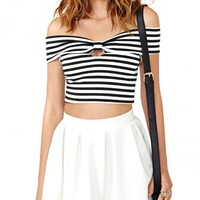 Off Shoulder Crop Top With Bow Detail