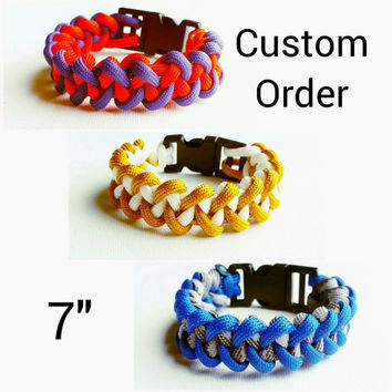 "Custom Paracord Bracelet 7"" - Survival Bracelet - Camping Gear - Emergency Bracelet - Military Bracelet- 550 Paracord- Custom Christmas Gift"