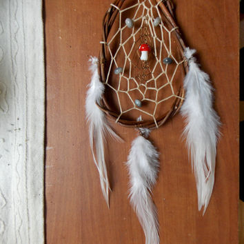 Mushroom Dream Catcher with Stone Beads // Hippie Boho Gypsy Home Decor