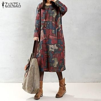 ZANZEA Women 2017 Autumn Vintage Mid-calf Length Dress Casual Loose Long Sleeve O Neck Printed Dresses Vestidos Oversized