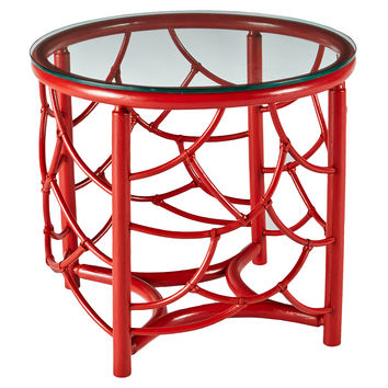 """Dorian 22"""" Round Rattan Side Table, Red, Standard Side Tables"""