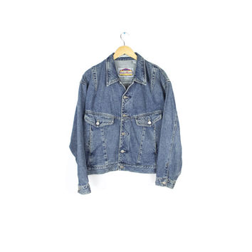 mens 90s denim jacket / faded heavy / vintage 1990s grunge / boxy fit / mens medium - large