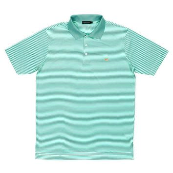 Bermuda Stripe Polo in Bimini Green and White by Southern Marsh