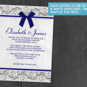 Royal Blue Country Lace Wedding Invitations | Invites | Invitation Cards