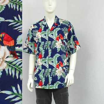 Vintage 80s Blue Hawaiian Shirt, Parrot Novelty Print Shirt, Aloha Shirt, Floral Shirt, Retro Shirt, Summer Shirt, Resort Wear, Size XL