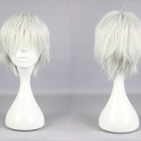 Hot 30cm Mens Short Silvery Grey Anime Cosplay Tokyo Ghoul Kaneki Ken Wig,New Highlight Ombre Colorful Candy Colored synthetic Hair Extension Hair piece 1pcs WIG-571A