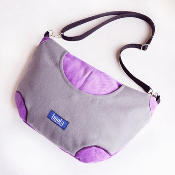 Purple gray purse crossbody bag concealed carry purse messenger bag canvas bag shoulder bag hobo bag grey plum purse corduroy purse bag OOAK
