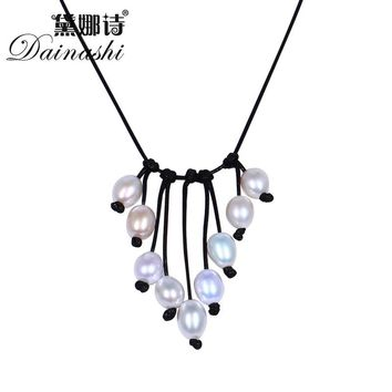 Dainashi 8-9MM 100% Natural Freshwater Pearl & Leather Necklace Long Colorful Jewelry Pearl Necklace 2017 New Arrival