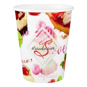 Watercolor Strawberry Sweets Love Monogram Paper Cup