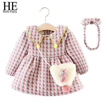 HE Hello Enjoy Infant Girl Dresses Winter Thicken Cute Baptism Baby Girl Clothes Long Sleeve Print Princess Dress Lucky Child
