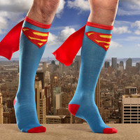 Junior's Superman Cape Knee High Socks - One Size (Blue)