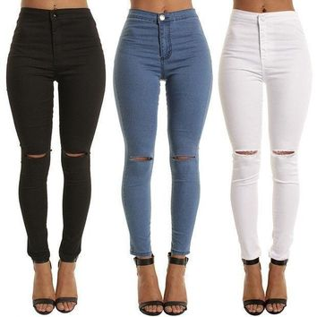 Stretch Slim Ripped Holes Denim Jeans