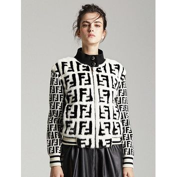 "Hot Sale ""FENDI"" Fashionable Women Warmer Half High Collar Knit Zipper Cardigan Jacket Coat"