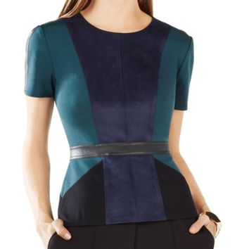 BCBGMAXAZRIA Cassandra Color-Block Faux Suede-Paneled Top | Bloomingdales's