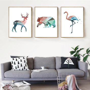 Nordic Geometric Animals Canvas Painting Deer Bear Flamingo Oil Painting Poster Print Art Wall Pictures for Living Room No Frame